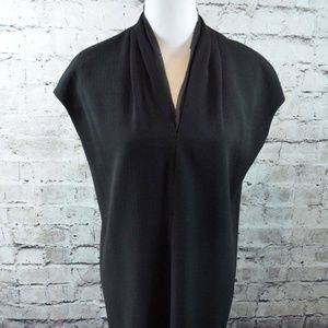 Carmen Marc Valvo Black Crepe Lined Shift Dress S